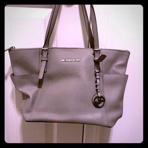 Gray Michael Kors shoulder bag/matching wallet